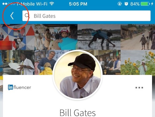 Pantallazo de app Linkedin en iOS